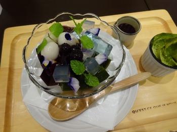 s_180612深緑茶房お茶教室「煎茶道を知る」⑰、紫陽花あんみつ.JPG