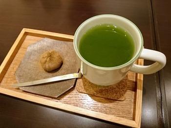 s_181023茶カフェ深緑茶房「お茶教室」10、クイックカップと栗きんとん.JPG